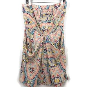 Jessica Simpson Floral Ruching Strapless Dress